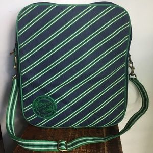 American Eagle navy and green stripe laptop bag